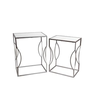 Privilege 2-piece Silver Finish Iron/ Glass Stands