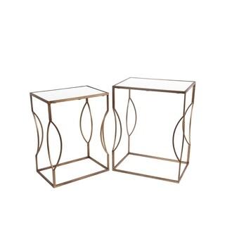 Privilege 2-piece Gold Iron Glass Top Stand Set