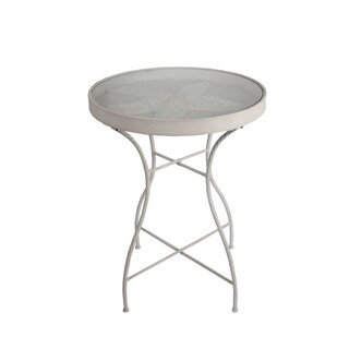 Privilege White Iron Starfish Glass Top Table