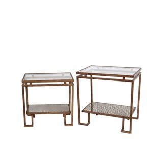 Privilege 2 Piece Antiqued Gold Finish Metal Mesh Glass Top Table Set