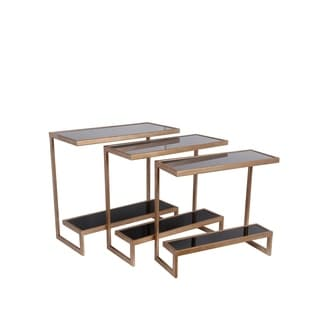 Privilege 3-piece Black/ Gold Suspended Accent Table Set