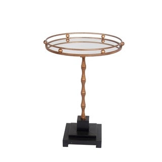 Privilege Black and Gold Round Accent Table