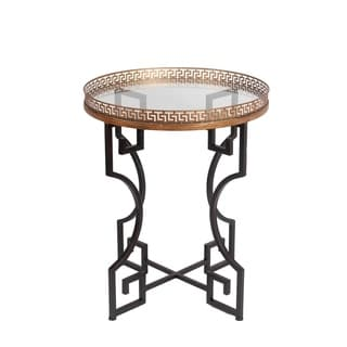 Privilege Black/ Gold Iron Greek Key Glass Top Accent Table