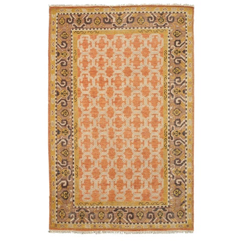 Hand-knotted Wool Orange Traditional Oriental Kotan Rug - 6' x 9'