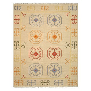 EORC Handmade Wool Beige Reversible Suzani Kilim Rug (5'6 x 8')