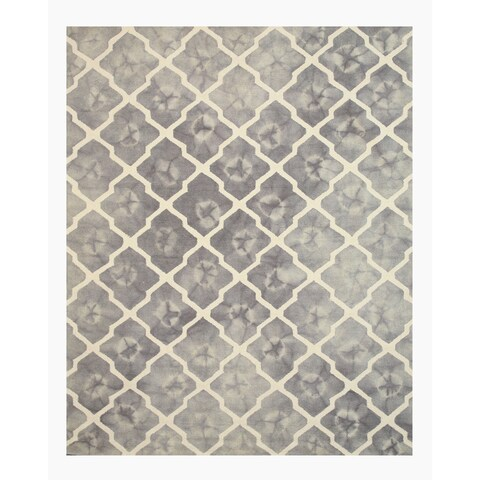 Hand-tufted Wool Gray Transitional Geometric Tie-dye Moroccan Rug - 5' x 8'