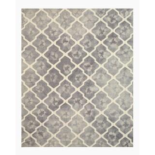 Hand-tufted Wool Gray Transitional Geometric Tie-dye Moroccan Rug (5' x 8')