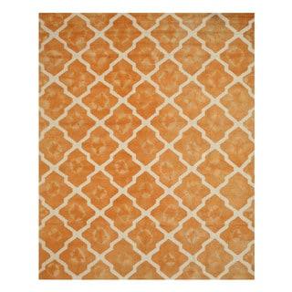 Hand-tufted Wool Orange Transitional Geometric Tie-dye Moroccan Rug (5' x 8')