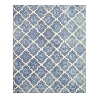 Hand-tufted Wool Blue Transitional Geometric Tie-dye Moroccan Rug (5' x 8')