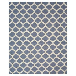 Handmade Wool Blue Transitional Trellis Reversible Modern Moroccan Kilim Rug (10' x 14')
