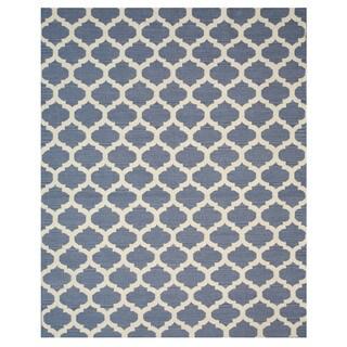 Handmade Wool Blue Transitional Trellis Reversible Modern Moroccan Kilim Rug (8' x 10')