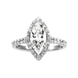 Sterling Silver Marquise Cut CZ Engagement Ring