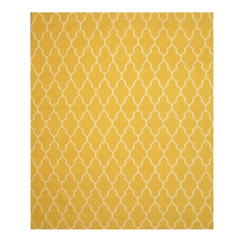 Handmade Wool Yellow Transitional Trellis Reversible Modern Moroccan Kilim Rug - 9' x 12'