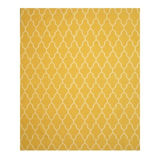 Handmade Wool Yellow Transitional Trellis Reversible Modern Moroccan Kilim Rug (9' x 12')