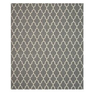 Handmade Wool Gray Transitional Trellis Reversible Modern Moroccan Kilim Rug (10' x 14')