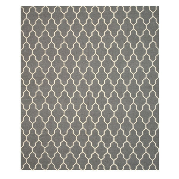 Handmade Wool Gray Transitional Trellis Reversible Modern Moroccan Kilim Rug - 8' x 10'