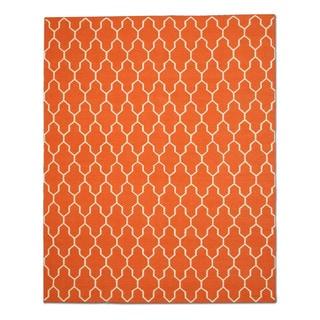 Handmade Wool Orange Transitional Trellis Reversible Modern Moroccan Kilim Rug (10' x 14')