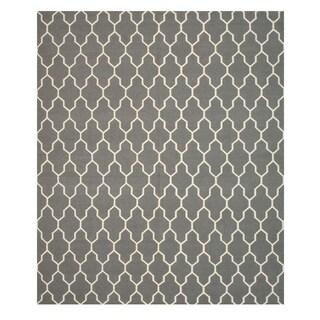 Handmade Wool Gray Transitional Trellis Reversible Modern Moroccan Kilim Rug (9' x 12')