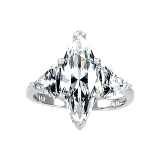 Sterling Silver CZ Marquise Cut Right Hand Ring