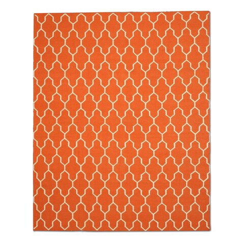 Handmade Wool Orange Transitional Trellis Reversible Modern Moroccan Kilim Rug - 8' x 10'