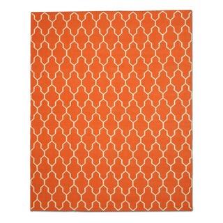Handmade Wool Orange Transitional Trellis Reversible Modern Moroccan Kilim Rug (8' x 10')