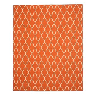 Handmade Wool Orange Transitional Trellis Reversible Modern Moroccan Kilim Rug (9' x 12')