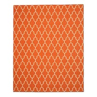 Handmade Wool Orange Transitional Trellis Reversible Modern Moroccan Kilim Rug - 9' x 12'