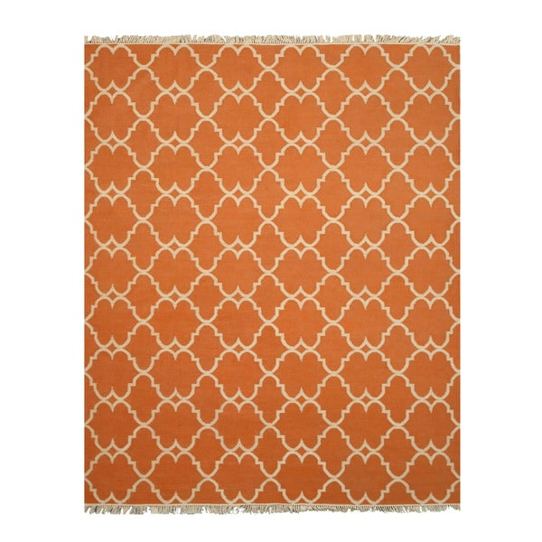 Handmade Polyester Orange Transitional Trellis Reversible Moroccan Outdoor Rug - 7'9 x 9'9