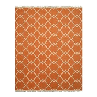 Handmade Polyester Orange Transitional Trellis Reversible Moroccan Outdoor Rug (7'9 x 9'9)