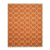Handmade Polyester Orange Transitional Trellis Reversible Moroccan Outdoor Rug - 7'9 x 9'9