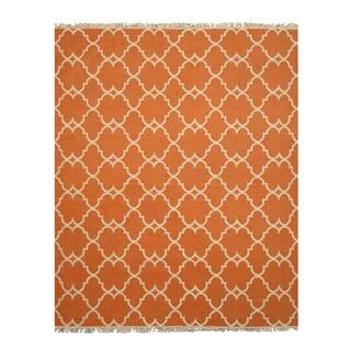 Handmade Polyester Orange Transitional Trellis Reversible Moroccan Outdoor Rug (7'9 x 9'9) - 7'9 x 9'9