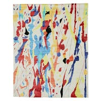 Hand-tufted Viscose Ivory Contemporary Abstract Bamboo Picaso Rug (7'9 x 9'9) - 7'9 x 9'9