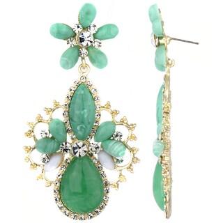 Green Stone Pear Drop Earrings