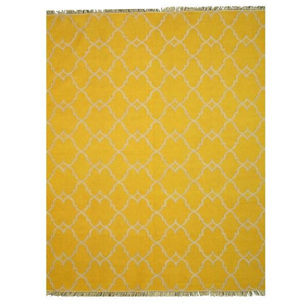 Handmade Polyester Yellow Transitional Trellis Reversible Moroccan Outdoor Rug - 7'9 x 9'9