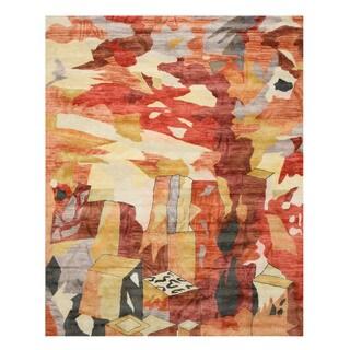 Hand-tufted Viscose Contemporary Abstract Bamboo Picaso Rug - 7'9 x 9'9