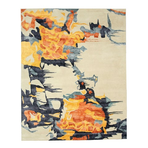 "Hand-tufted Wool & Viscose Ivory Contemporary Abstract Bamboo Picaso Rug - 7'9"" x 9'9"""
