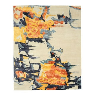 Hand-tufted Wool & Viscose Ivory Contemporary Abstract Bamboo Picaso Rug (7'9 x 9'9)