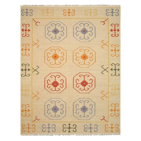 Handmade Wool Beige Traditional Oriental Reversible Suzani Kilim Rug - 10' x 14'