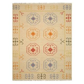 Handmade Wool Beige Traditional Oriental Reversible Suzani Kilim Rug (10' x 14')