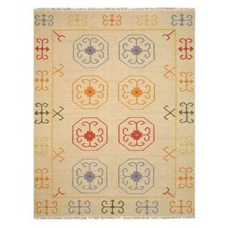 Handmade Wool Beige Traditional Oriental Reversible Suzani Kilim Rug (9' x 12')