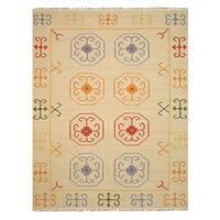 Handmade Wool Beige Traditional Oriental Reversible Suzani Kilim Rug - 9' x 12'