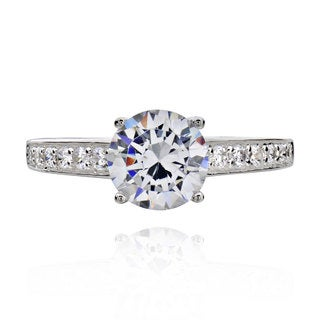 Sterling Silver 1 1/2ct TGW Round Cubic Zirconia Bridal Engagement Ring (China)