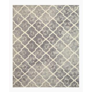 Hand-tufted Wool Gray Transitional Geometric Tie-dye Moroccan Rug (7'9 x 9'9)