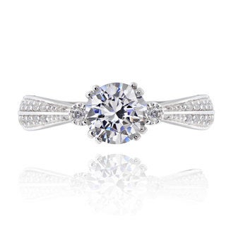 Sterling Silver 1ct TGW Round Cubic Zirconia Bridal Engagement Ring (China)