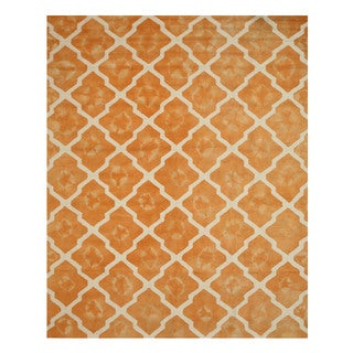 Hand-tufted Wool Orange Transitional Geometric Tie-dye Moroccan Rug (7'9 x 9'9)