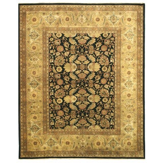 EORC Hand Knotted Wool Black New Zealand Sarouk Rug (12' x 15')