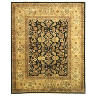 Hand-knotted Wool Black Traditional Oriental Tabriz Rug (12' x 15')