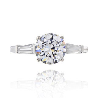 Sterling Silver 1 1/2ct TGW 3-stone Cubic Zirconia Engagement Ring (China)