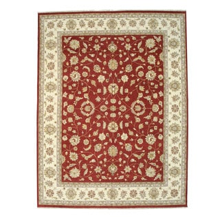 Hand-knotted Wool Red Traditional Oriental Agra Rug (11'11 x 15'7)