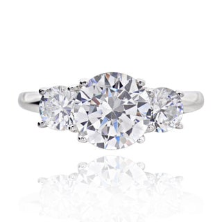 Sterling Silver 3ct TGW 3 Stone Round Cubic Zirconia Bridal Engagement Ring China